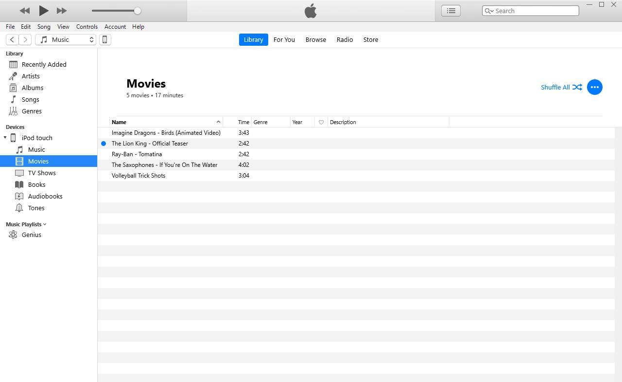 Добавляем фильмы в iTunes